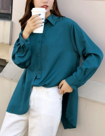 Fashion Blue Skewered Irregular Split Shirt