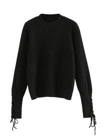 Fashion Black Knitted Tassel Pullover Sweater