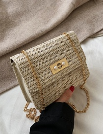 Fashion Beige Pearl Buckle Straw Crossbody Bag