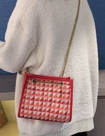 Fashion Red Woolen Handbag Shoulder Diagonal Package