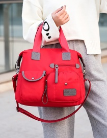 Fashion Red Contrast Color Labeling Mobile Travel Bag