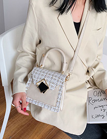 Fashion Creamy-white Wool Plaid Stitching Portable Slung Shoulder Bag
