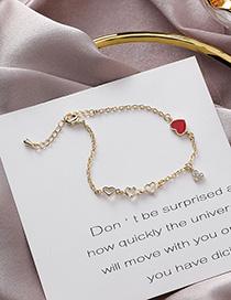 Fashion Gold Red Heart Bracelet