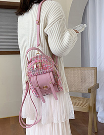 Fashion Pink Woolen Stitching Backpack