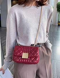 Fashion Red Wine Rhombic Chain Messenger Bag