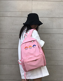 Fashion Pink Cartoon Baby Face Embroidered Nylon Backpack