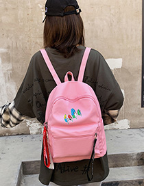 Fashion Pink Canvas Leaf Print Backpack