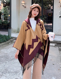Fashion Purple Yellow Staircase Cape Shawl