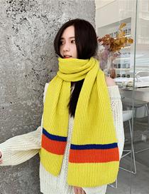 Fashion Bright Yellow Thick Knit Wool Scarf
