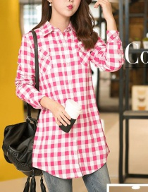 Fashion Red And White Flower Grid Thickened And Velvet Plaid Shirt