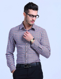 Fashion White Red Cotton Plaid Shirt
