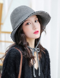 Fashion Gray Solid Color Wool Lace Tether Knit Hat
