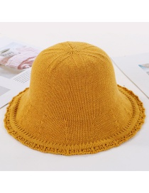 Fashion Yellow Openwork Lace Knit Fisherman Hat