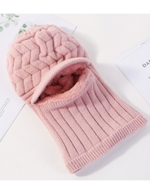Fashion Pink Velvet Knit Hat Bib Mask One-piece Double-layer Plus Velvet Arrow Wool Cap