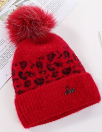Fashion Red Velvet Thick Leopard Wool Hat