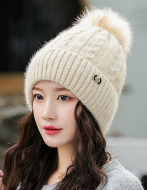 Fashion Beige Rabbit Fur Knit Hemp Pattern With Flannel And Wool Cap