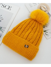 Fashion Yellow Rabbit Fur Knit Hemp Pattern With Flannel And Wool Cap