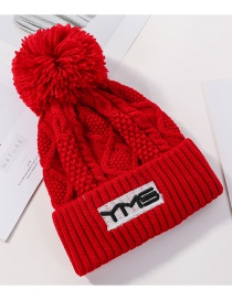 Fashion Red Plush Wool Embroidery Ym Knit Hat