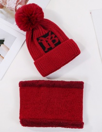 Fashion Red Wine Velvet Letter Wool Knit Hat Bib Two-piece