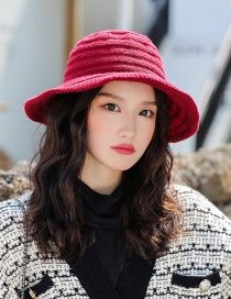 Fashion Wine Red Striped Wool Cap