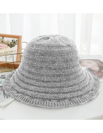 Fashion Light Gray Striped Wool Cap