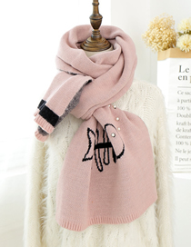 Fashion Pink Letter Pearl Knit Wool Scarf