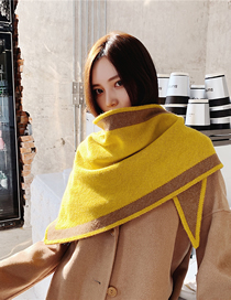 Fashion Yellow Knitted Coarse Wool Long Plaid Shawl