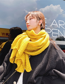 Fashion Ginger Yellow Fringed Long Small Dot Plaid Scarf