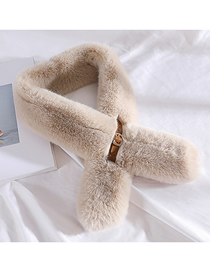 Fashion Beige Imitation Rabbit Fur Buckle Scarf