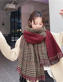 Fashion Red Wine Thickened Cashmere Thousand Bird Plaid Long Large Shawl