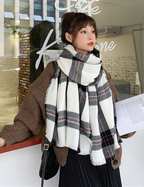 Fashion White Plaid Long Thick Plaid Imitation Cashmere Shawl
