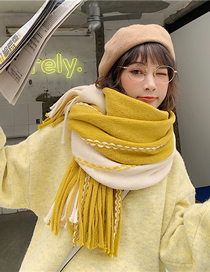 Fashion Yellow Long Thick Knitted Wool Scarf