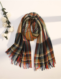 Fashion Army Green Rainbow Woven Plaid Imitation Cashmere Tassel Shawl Scarf