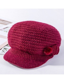 Fashion Wine Red Fan Leaf Flower Plus Velvet Rabbit Fur Knitted Wool Cap