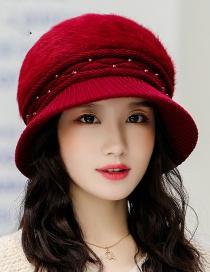 Fashion Red Wine Velvet Knit Hat