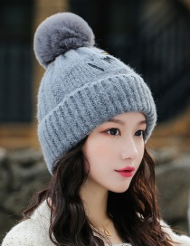 Fashion Gray Embroidered Smiley Face And Cashmere Hat