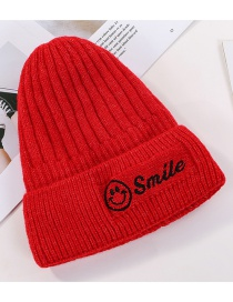 Fashion Red Embroidered Smiley Plus Velvet Knitted Wool Cap