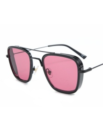 Fashion Black Frame Red Film Square Double Beam Sunglasses