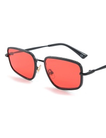 Fashion Black Box Red Irregular Four-sided Sunglasses