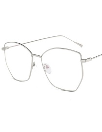 Fashion Silver Frame Irregular Metal Frame Flat Mirror Glasses