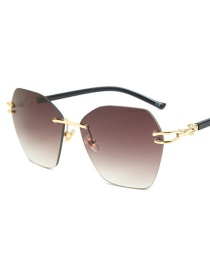 Fashion Dark Coffee Irregular Large Box Cut Sunglasses