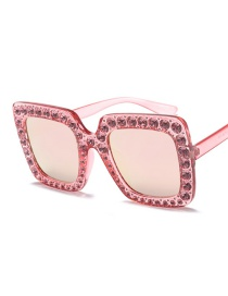Fashion Pink Box Barbie Powder Four-box Big Diamond Sunglasses
