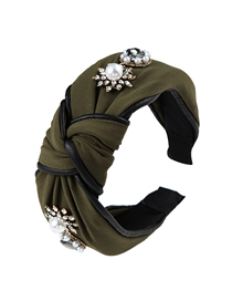 Fashion Army Green Cloth And Diamond Pearl Wide-brimmed Knotted Headband