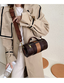Fashion Brown Contrast Ribbon Splicing Shoulder Crossbody Bag  Pu