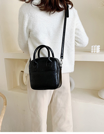 Fashion Black Stitching Shoulder Bag Shoulder Bag  Pu