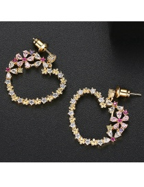 Fashion 18k Copper Inlaid Zirconium Heart Shaped Snow Earrings
