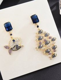 Fashion Gold S925 Sterling Silver Needle Micro-inlaid Zircon Big Fish Eat Small Fish Earrings
