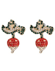 Fashion Red Vegetable Carrot With Diamond Stud Earrings
