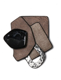 Fashion Brown Geometric Diamond-studded Resin Brooch