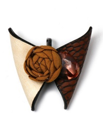Fashion Brown Butterfly Leather Brooch